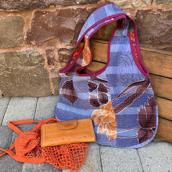 fire monkey Handbags - ✨VINTAGE RECYCLED SARI KANTHA HOBO TOTE BAG✨